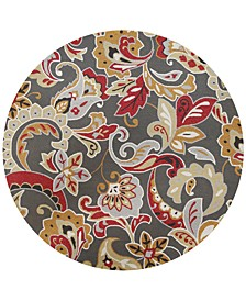 "Harbor Flora 4213 Taupe 7'6"" Indoor/Outdoor Round Area Rug"