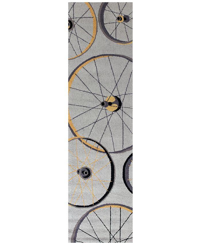 """Kas - Sonesta Wheels In Motion 2035 Gray 2' x 7'6"""" Runner Area Rug"""