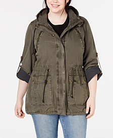 Trendy Plus Size Hooded Fishtail Jacket