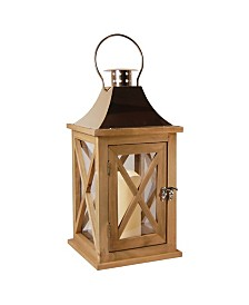 Lumabase Natural Wooden Lantern with Copper Roof and LED Candle