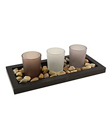 Lumabase Wooden Pebble Tray with 3 Glass Votive Holders