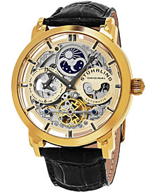 Stuhrling Original Stainless Steel Gold Tone Case on Black Alligator Embossed Genuine Leather Strap, Gold Tone Skeletonized Dial, With Gray Accents