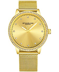 Stuhrling Original Women's Gold-Tone Case and Mesh Bracelet, Gold Dial Watch