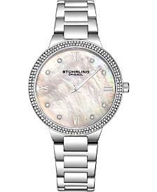Stuhrling Original Women's Silver Case and Bracelet, White Mop Dial Watch
