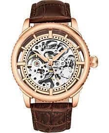 Stuhrling Original Men's Skeleton, Rose Case, Brown Leather Strap Watch