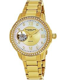 Stuhrling Original Women's Automatic, Gold Case, Gold/Mop Dial, Gold Stainless Steel Bracelet Watch