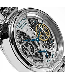 Stuhrling Original Men's Automatic, Silver Skeleton Dial, Silver Case, Silver Stainless Steel Bracelet