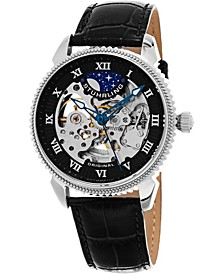 Original Men's Automatic Skeleton Watch, Silver Tone Case on Black Alligator Embossed Genuine Leather Strap, Silver Tone Skeletonized Dial, With Black and Blue Accents