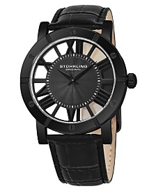 Stuhrling Original Stainless Steel Black Pvd Case on Black Alligator Embossed Genuine Leather Strap, Gray Spoke-Style Dial, With Black Accents