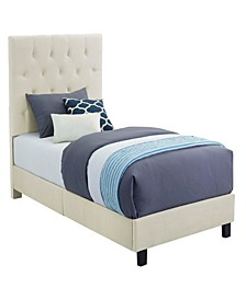 Faye Twin Upholstered Bed with Ottoman Set