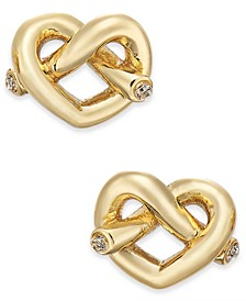 Crystal Accented Love Knot Stud Earrings