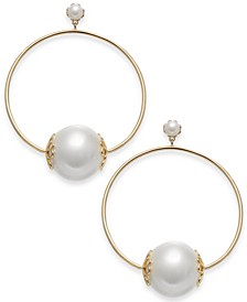 "Gold-Tone Imitation Pearl Extra Large 2-2/3"" Large Hoop Earrings"