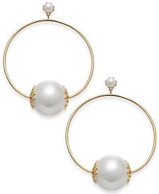 "kate spade new york Gold-Tone Imitation Pearl Extra Large 2-2/3"" Hoop Earrings"