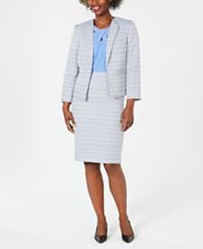 Kasper Textured Blazer, Cross-Neck Shell & Textured Skirt