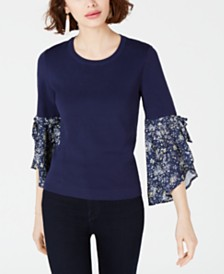 Maison Jules Contrast-Sleeve Sweater, Created for Macy's