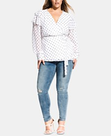 City Chic Trendy Plus Size Polka Dot Wrap Top