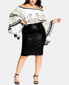 City Chic Trendy Plus Size Faux-Leather Pencil Skirt