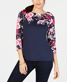 Charter Club Printed-Yoke 3/4-Sleeve Top, Created for Macy's
