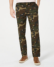 Club Room Men's Regular-Fit Stretch Camouflage Dog-Print Pants, Created for Macy's
