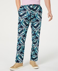 Club Room Men's Regular-Fit Stretch Palm-Print Pants, Created for Macy's