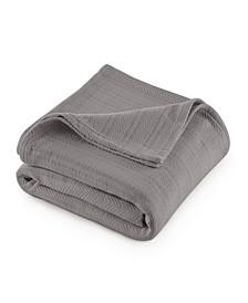 Cotton Textured Chevron Woven King Blanket