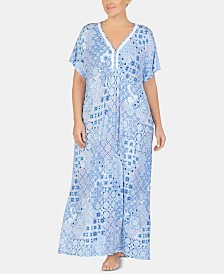 Ellen Tracy Plus-Size Printed Embroidered Trim Knit Caftan