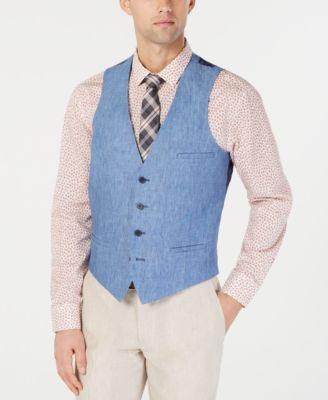 Men's Slim-Fit Chambray Linen Blue Suit Vest, Created for Macy's