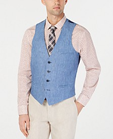 Men's Slim-Fit Chambray Linen Blue Suit Vest, Created for Macy's