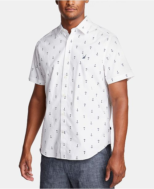 Nautica Nautica Men's Blue Sail Classic-Fit Performance Stretch Anchor-Print Shirt, Created for Macy's