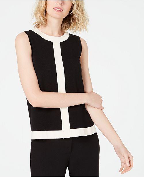 Anne Klein Sleeveless Colorblocked Sweater