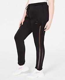 La La Anthony Trendy Plus Size Mesh Stripe Jogger Pants