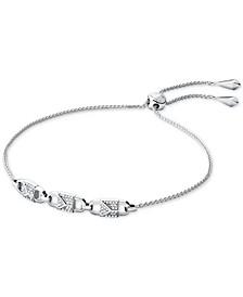 Sterling Silver Pavé Link Slider Bracelet