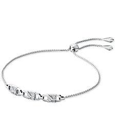Michael Kors Sterling Silver Pavé Link Slider Bracelet