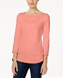 Pima Cotton  Boat-Neck Button-Shoulder Top, Created  for Macy's