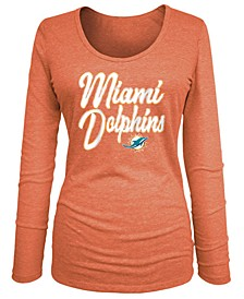 Women's Miami Dolphins Long Sleeve Triblend Foil T-Shirt