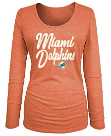 5th & Ocean Women's Miami Dolphins Long Sleeve Triblend Foil T-Shirt