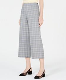 Bar III Plaid Wide-Leg Pants, Created for Macy's