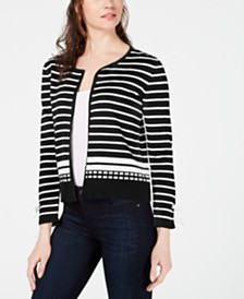 NY Collection Petite Cotton Cropped Cardigan