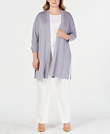 Anne Klein Plus Size St. Barts Long Cardigan Sweater