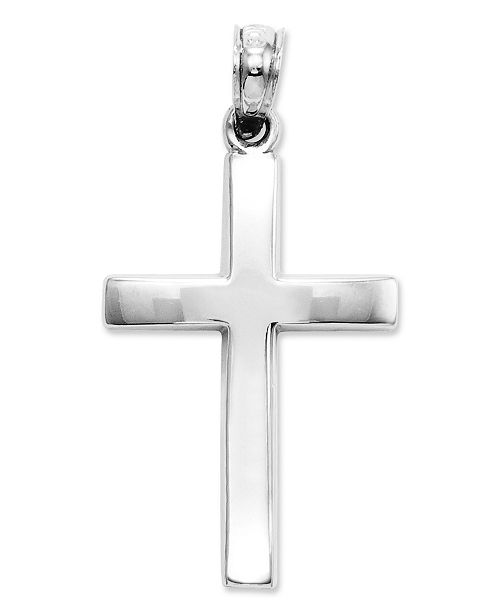 14k White Gold Charm, Beveled Cross Charm