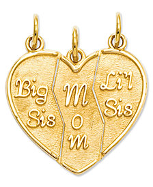 14k Gold Charm, Break Apart Big Sis, Mom and Lil Sis Charm