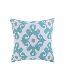 Levtex Home Spa Pintuck Embroidered Teal Gray Pillow