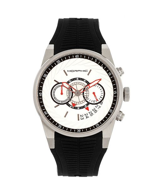 Morphic Quartz M72 Series, MPH7201, Black/Silver  Chronograph Silicone Watch 43MM