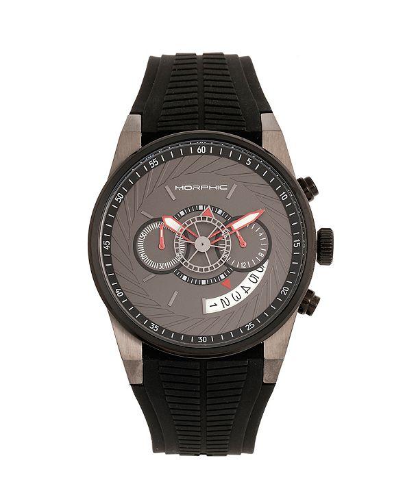 Morphic Quartz M72 Series, MPH7206, Black/Charcoal Chronograph Silicone Watch 43MM