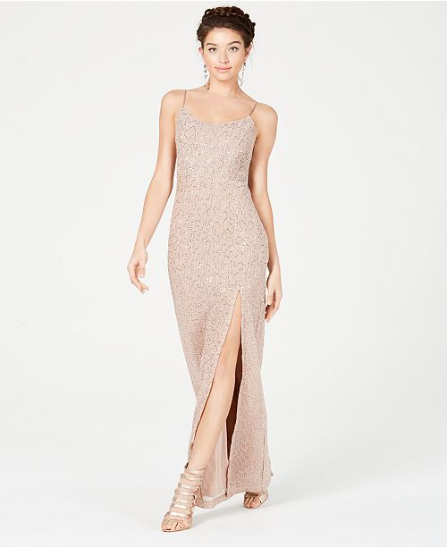 Teeze Me Juniors' Sequined Slit Gown