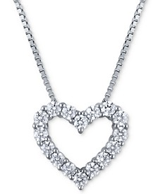 Macy's Star Signature Certified Diamond Heart Pendant Necklace (2 ct. t.w.) in 14k White Gold