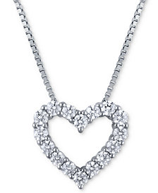 Macy's Star Signature Diamond Heart Pendant Necklace (2 ct. t.w.) in 14k White Gold