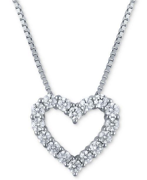 Macy's Star Signature Diamond Macy's Star Signature Certified Diamond Heart Pendant Necklace (2 ct. t.w.) in 14k White Gold