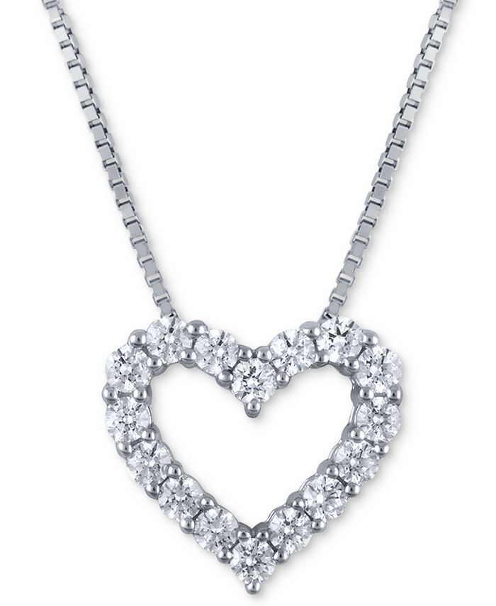 Macy's Star Signature Diamond - Diamond Heart Pendant Necklace (2 ct. t.w.) in 14k White Gold