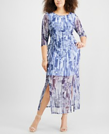 NY Collection Plus Size Printed Maxi Dress